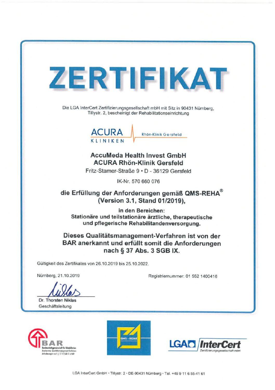 Erste Rehaklinik in Hessen: Rezertifiziert nach QMS-Reha 3.1
